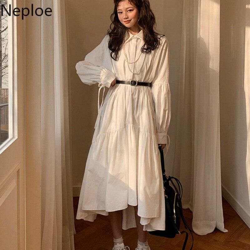 Neploe Korean Chic Women Dress Summer 2019 Retro Turn-Down Collar Long Sleeve Vestidos Loose Drawstring Solid Dresses 44572