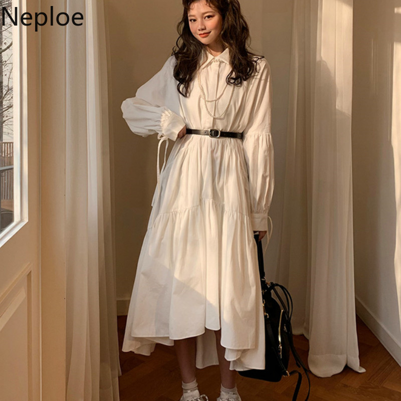 Neploe Korean Chic Women Dress Summer 2020 Retro Turn-Down Collar Long Sleeve Vestidos Loose Drawstring Solid Dresses 44572