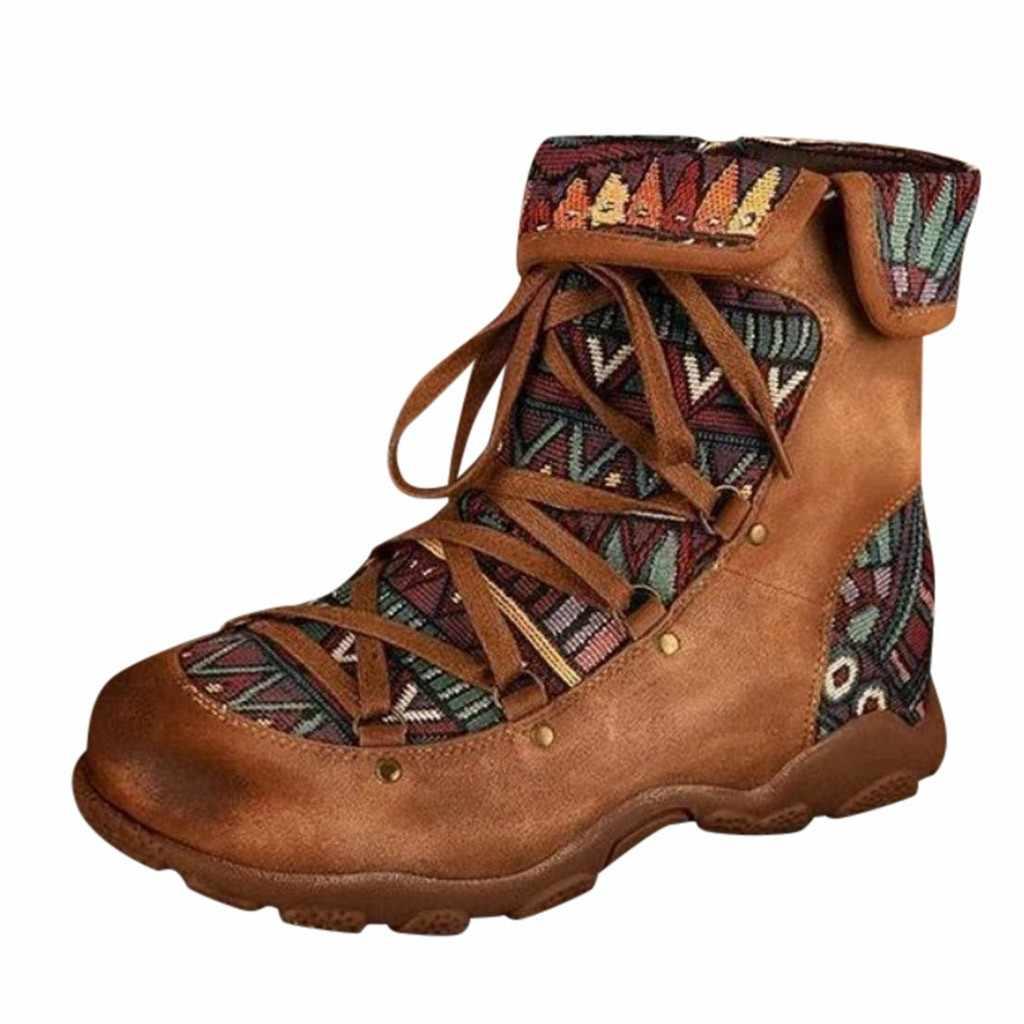 Estilo Boho estilo botas de invierno botas de las mujeres señoras bohemio Retro estilo tobillo cremallera de las mujeres de tacón plano cabeza redonda corto botas, botines zapatos casuales zapatos