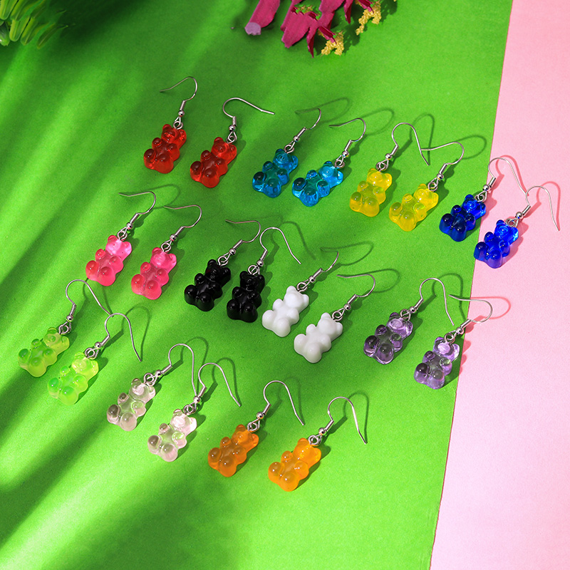 Hf3cc306fc44943ac9a61582ac12a524fT - 1 Pair Creative Cute Mini Gummy Bear Earrings Minimalism Cartoon Design Female Ear Hooks Danglers Jewelry Gift