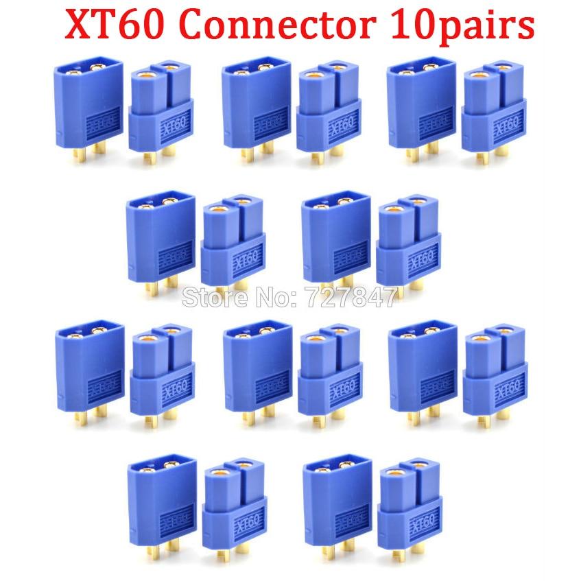 20 шт.(10 пар) Высокое качество XT30 XT30U XT60 XT60H XT60L XT60PW XT90 XT90S разъем для батареи мультикоптера - Цвет: Blue XT60 Plug