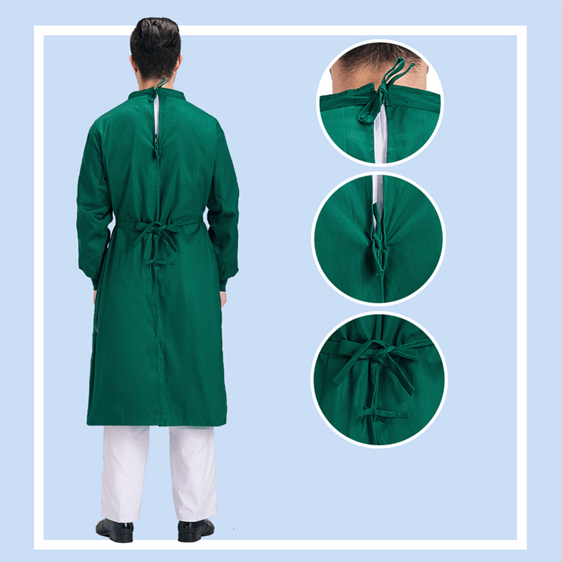 Image 3 - Long Sleeve Medical Suit Lab Coats Man Solid Green Hospital Scrub Uniform Surgical Gown Doctor Operating Slim Work WearSafety Clothing   -