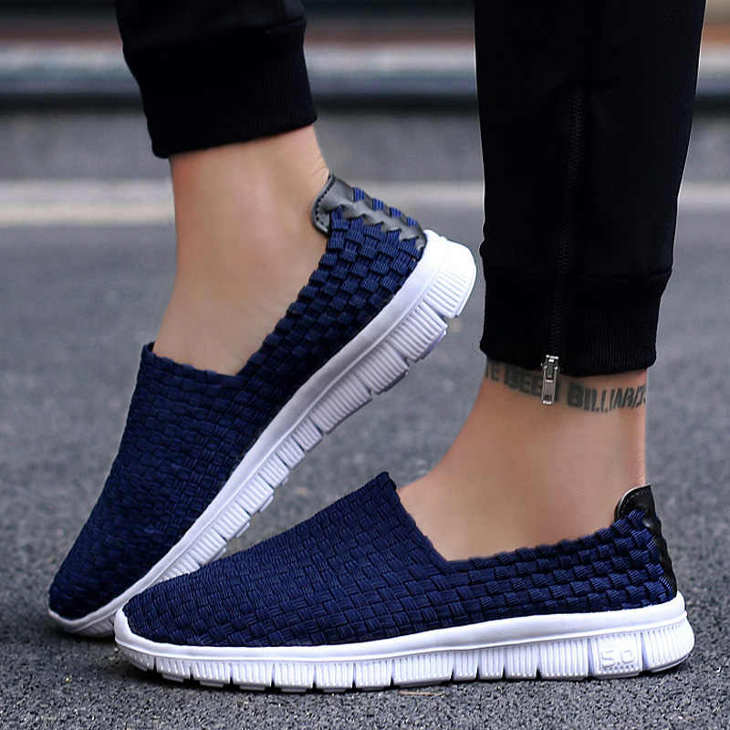 Summer Mesh Breathable Weave Slip On Loafers Hollow Out Casual Fashion Shoes