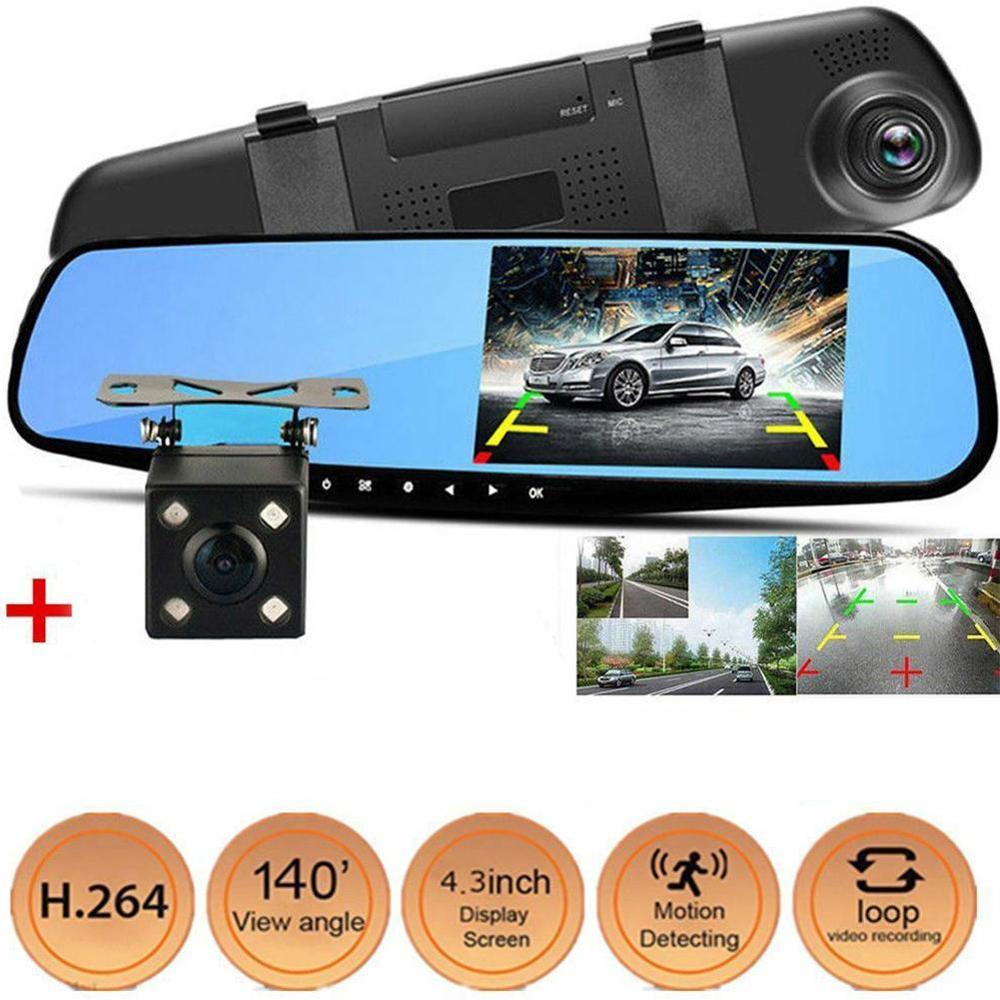 <font><b>DVR</b></font> Dash Camera Dash Cam <font><b>Car</b></font> <font><b>dvr</b></font> <font><b>Mirror</b></font> Dual Lens Rear View Camera Rearview Dashcam Auto Recorder Video Full HD Front and Rear image