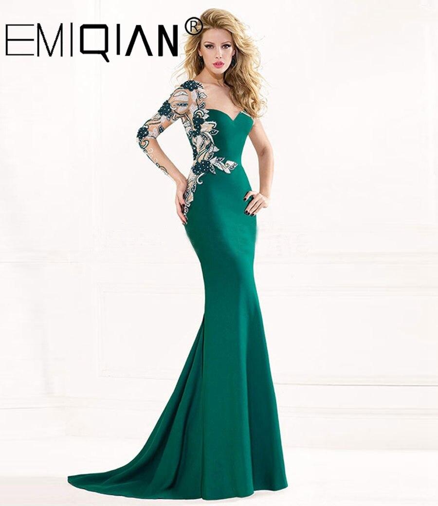 Long Sleeve Sweep Train Applique Crystals Formal Dress Green Mermaid Evening Dresses 2