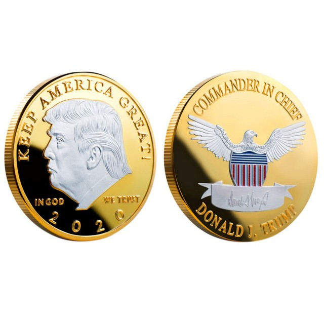 2020 silver-plated gold-plated two-color Trump commemorative coin gold and silver US president coin Trump crafts collection gift 5