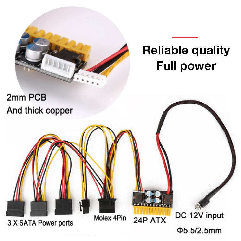 12V 180W <font><b>24Pin</b></font> Mini PicoPSU DC-ATX Power Supply High Power Inline Power Module For Integrated, POS, Set-top Boxes, Web Servers image