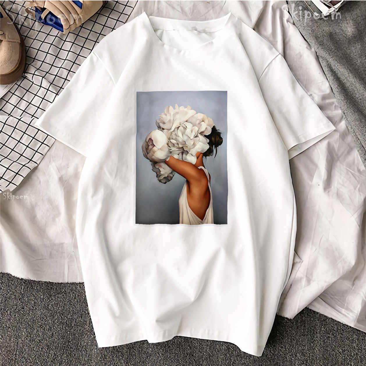 Nowa bawełniana koszulka Harajuku z krótkim rękawem estetyka Tshirt Sexy kwiaty z piór kobiet koszulka topy i koszulki moda para T Shirt
