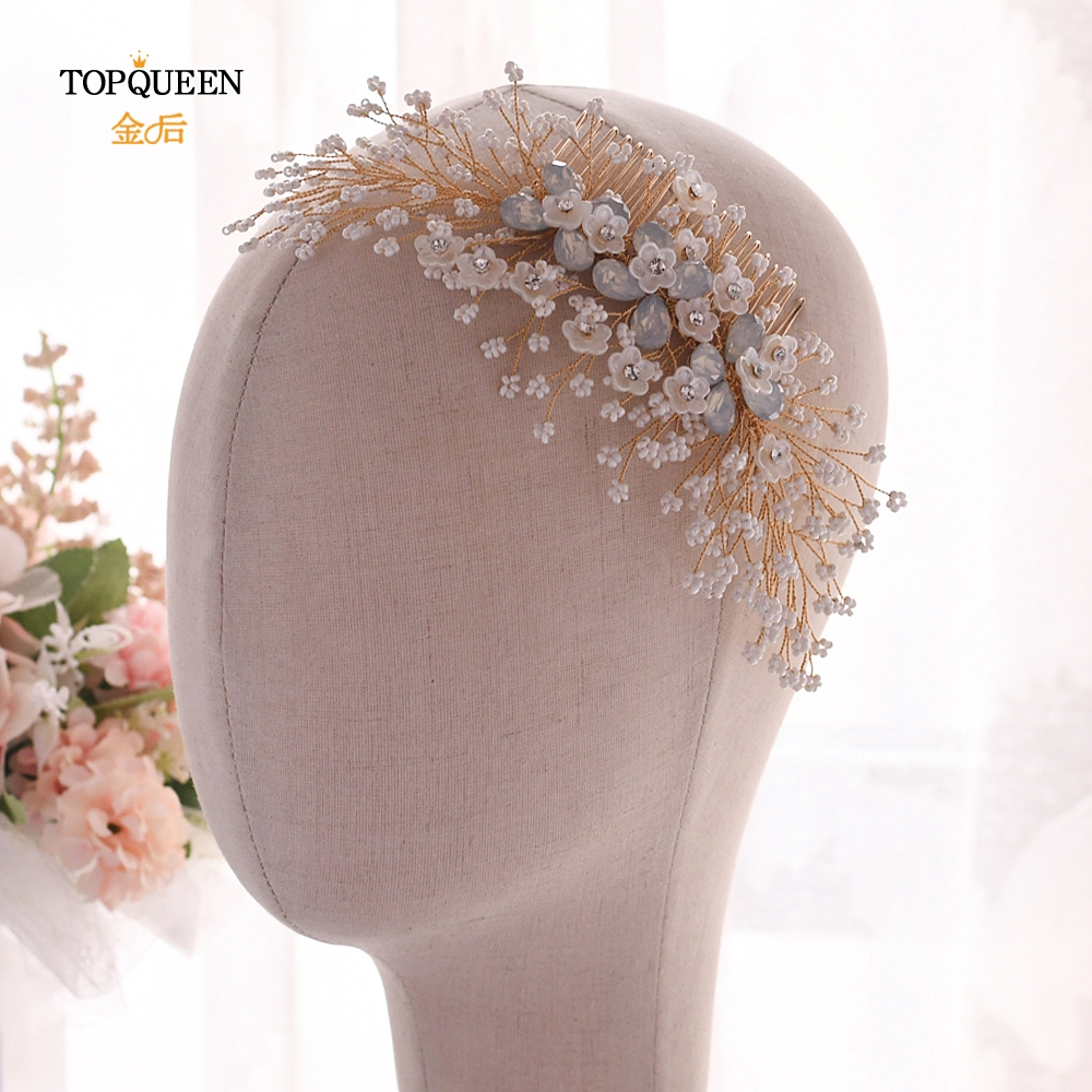 TOPQUEEN Golden Hair Clip Comb Luxury Hair Clip Gold Bridal Hair Comb Crystal Vintage Handmade Hair Combs Hair Jewelry HP279