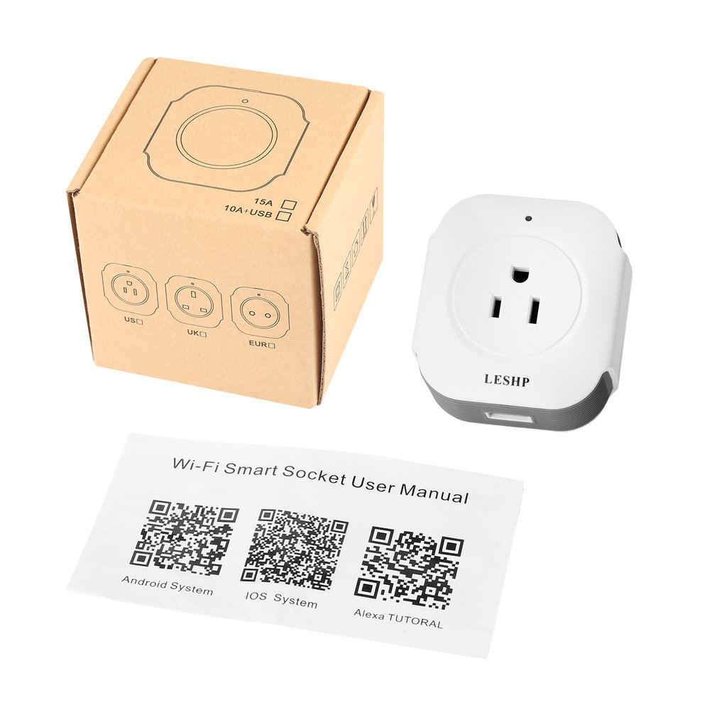 LESHP Wireless Mini Socket Smart Plug With USB Output(5V/1A) Wi-Fi Smart Switch Socket APP Remote Control Outlet Timing Switch