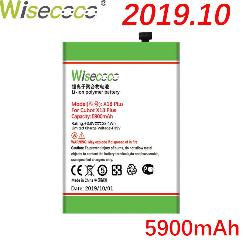 WISECOCO 5900mAh <font><b>Cubot</b></font> <font><b>X18</b></font> Plus <font><b>Battery</b></font> For <font><b>Cubot</b></font> <font><b>X18</b></font> Plus Phone In Stock Latest Production High Quality <font><b>Battery</b></font>+Tracking Number image
