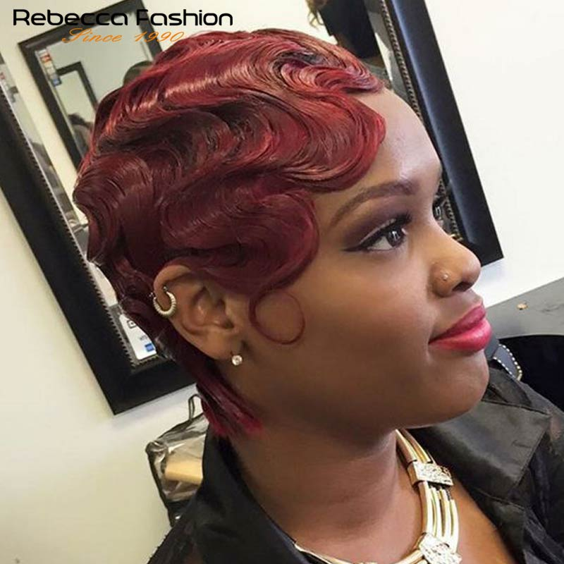 Rebecca Human Hair Wigs Part Lace Front Wig Short Wavy Wave Wigs For Black Women Short Retro Cut Wigs Human Hair Short Bob Wigs