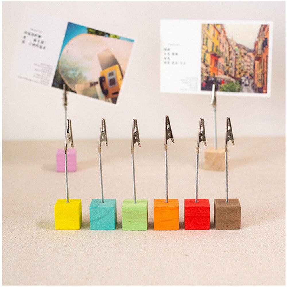 2 шт. цветной деревянный куб, держатель для карт, железная фотография, открытка, зажимы для заметок, подставка, настольные украшения, органайзер для офисного стола