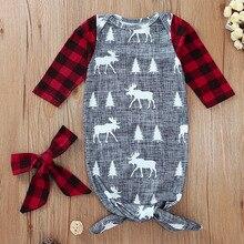 Рождественский костюм для новорожденных, серый спальный мешок с рисунком олененка+ Тюрбан, 2 предмета, теплый детский Рождественский подарок