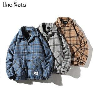 Image 4 - Мужская шерстяная клетчатая куртка Una Reta, повседневная винтажная однобортная куртка в стиле хип хоп, верхняя одежда на осень
