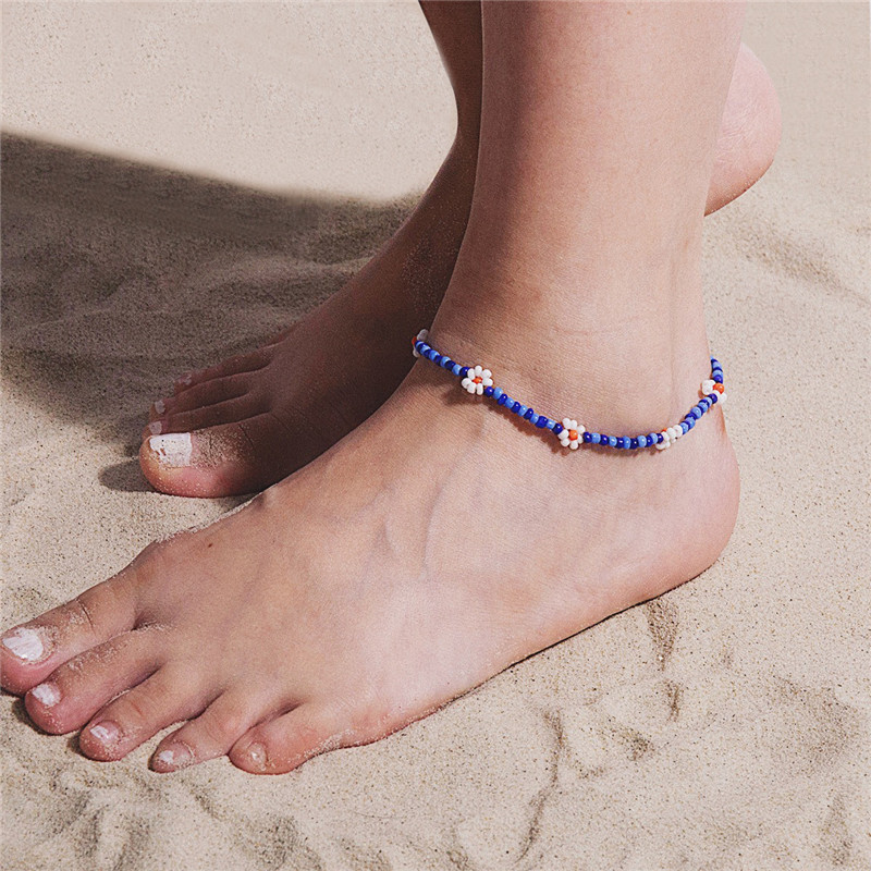 2020 Summer Fashion Boho Anklets For Women Girl Unique Design Daisy Beads Ankle Bracelet Female Beach Jewelry Gift