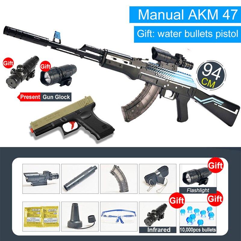 Bolt Action Rifle AK47 Toys Gun AK 47 Handgun Toy Water Gel Ball Bullet Airsoft Pistol Glock Boys Outdoor Sports Fun CS Shooting