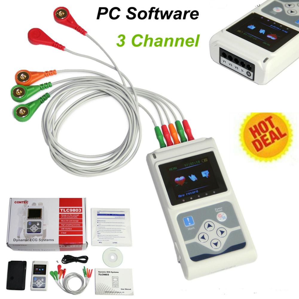 24 Hour 3 Channel ECG Holter EKG Recorder Analyzer 12 Leads ECG Monitor Software TLC9803/5007
