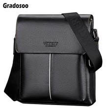 Gradosoo Man Leather Bag Brand Shoulder Crossbody Bags PU Leather Male Bag iPad Business Messenger Bags Briefcase For Men LBF682