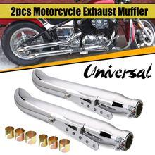 Muffler-Tip Exhaust-Pipe Cafe Racer Motorcycle Yamaha/suzuki Universal Chrome Pair