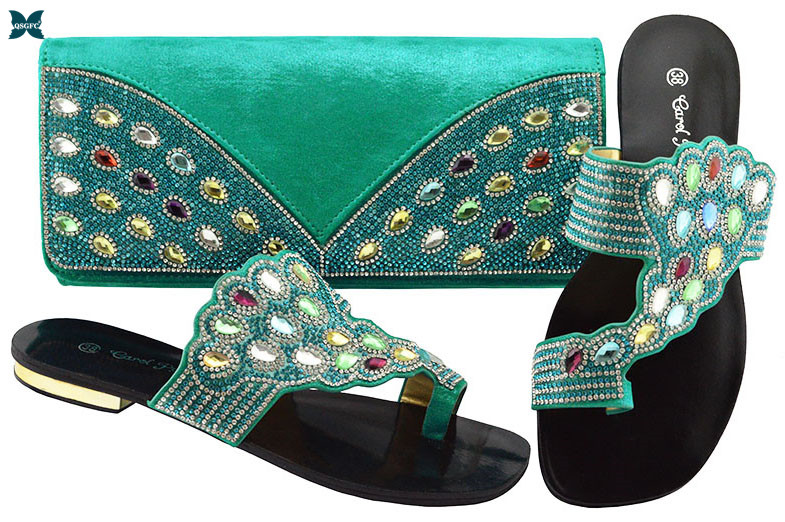 Italian design Ladies Shoes With Matching Bags Set African Women's Party Shoes and Bag Sets Teal Color Women Sandals And Handbag