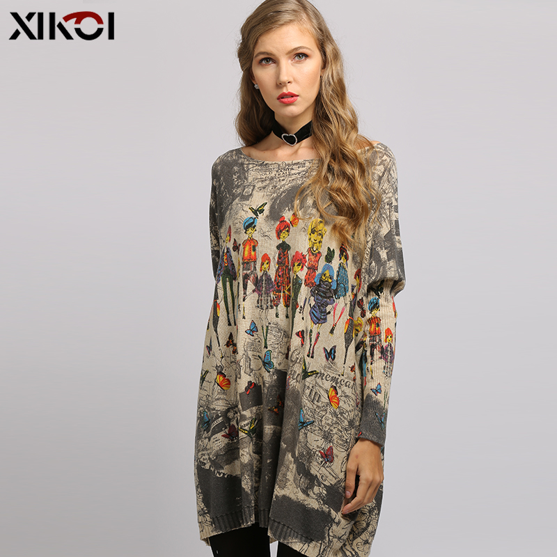 2019 New Butterfly Novel Doll Print  Women Pullovers Oversized Sweater Dress Autumn Pull Femme Long Warm Batwing Sleeves Clothes