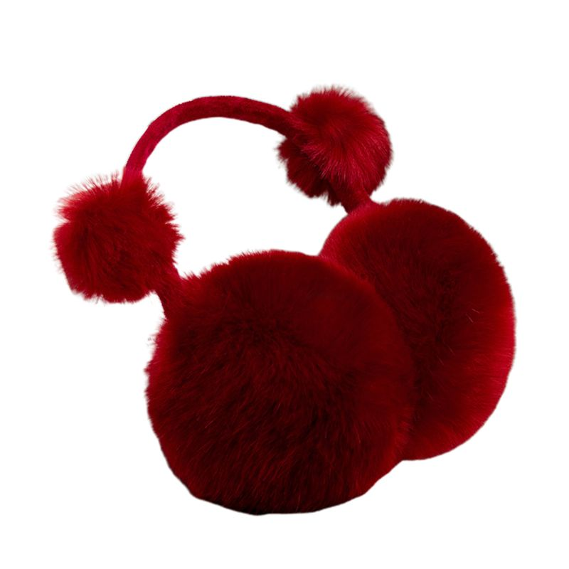 Kids Winter Cute Pompom Earmuffs Foldable Solid Color Ear Cover Warmer Headband H37C