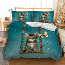 купить Cute Cat Swing Bedding Set 3D Animal Flower Duvet Cover with Pillowcases Twin Queen King Size Green Color Bed Linen 3pcs по цене 1455.68 рублей