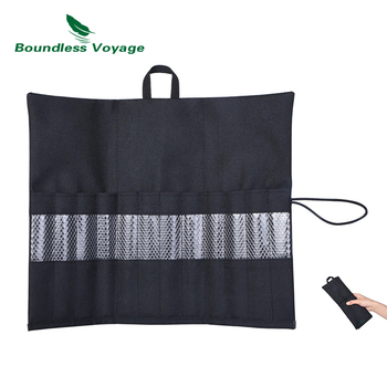 Boundless Voyage Cutlery Roll Bag Tableware Storage Bag Knife Fork Spoon Arrange Bag Camping Portable Tent Pegs Carry Bag portable chef knife bag roll bag carry case bag kitchen cooking tool portable storage 10 pockets coffee