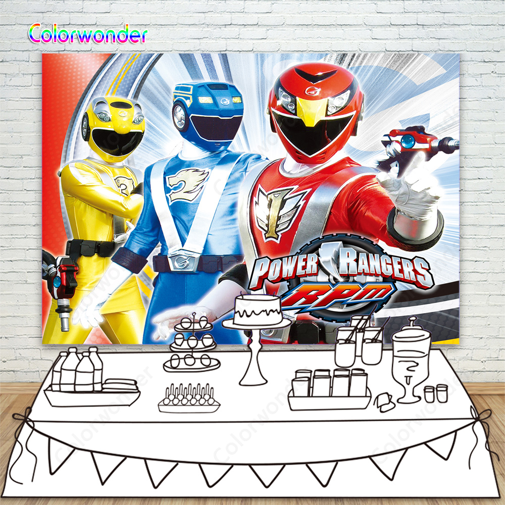 Power Rangers Theme Party Background Red Blue Yellow Power Ranger Backdrop For Kids Boy Birthday Banner Photo Booth Background