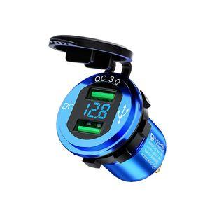 Image 5 - 12V/24V 18W אלומיניום עמיד למים כפולה QC3.0 USB מהיר מטען שקע לשקע חשמל עם LED מד מתח לרכב ימי משאית