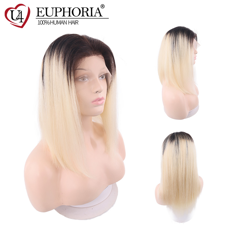 Straight 13X4 Lace Front Human Hair Wigs Free Part 100% Remy Hairpiece Euphoria Brazilian 130% Density Blonde Ombre 613 Hair Wig
