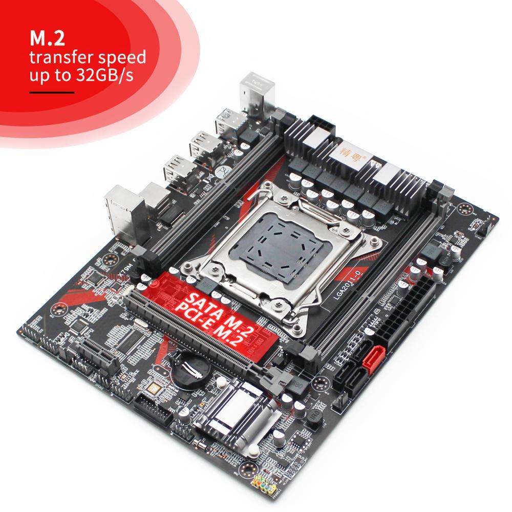 JGINYUE X79 Motherboard LGA 2011 For Intel i7 Xeon E5 V1&V2 Processor DDR3 64G ECC/NON-ECC RAM M.2 NVME/SATA Mainboard X79M PLUS 3