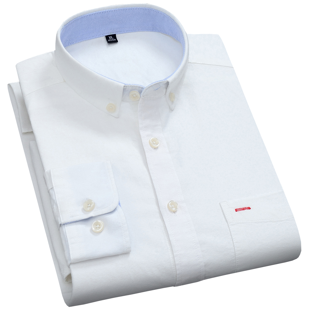 Casual Pure Cotton Oxford Mens Dress Shirts White Long Sleeve Chemise Homme Regular Fit Male Fashion Design Blouse