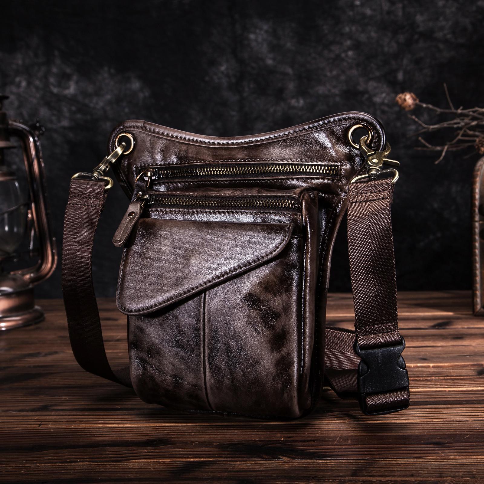 Quality Leather Men Design Casual Coffee Classic Shoulder Sling Bag Fashion Travel Fanny Waist Belt Pack Leg Bag 211-3DC