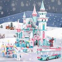 QWZ Friends Ice Princess Castle Building Block natale inverno Snow House Cartoon giocattoli in mattoni per ragazze giocattoli per bambini regalo