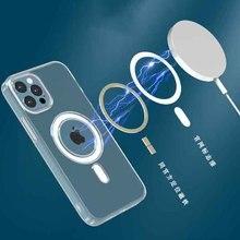 Bobina magnética original círculo caso do telefone para o iphone xr 11 12 mini pro max 7 xr 8 plus x xs max cristal claro silicone capa