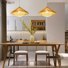 Chandelier-Lamp Pendant-Light Rattan Bamboo Hand-Woven Restaurant Southeast Asia