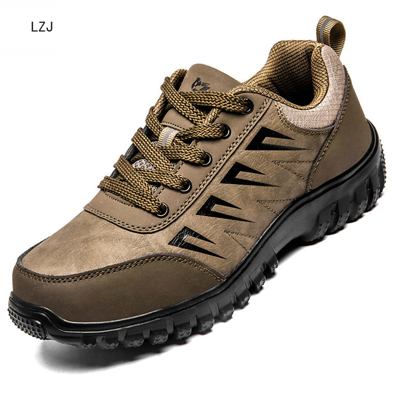 LZJ 2019 Autumn New Mens Casual Shoes High Quality Leather Male Walking Sneakers Outdoor Breathable Flats Shoes Lace-up Trainers