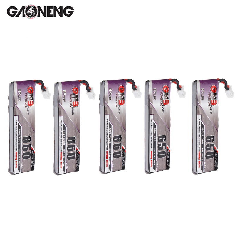5 uds Gaoneng 3,8 V 650mAh 60C 1S HV 4,35 V Lipo batería PH2.0 enchufe para Snapper7 E010 M80S Beta85 FPV Cine Whoop BetaFPV Drone