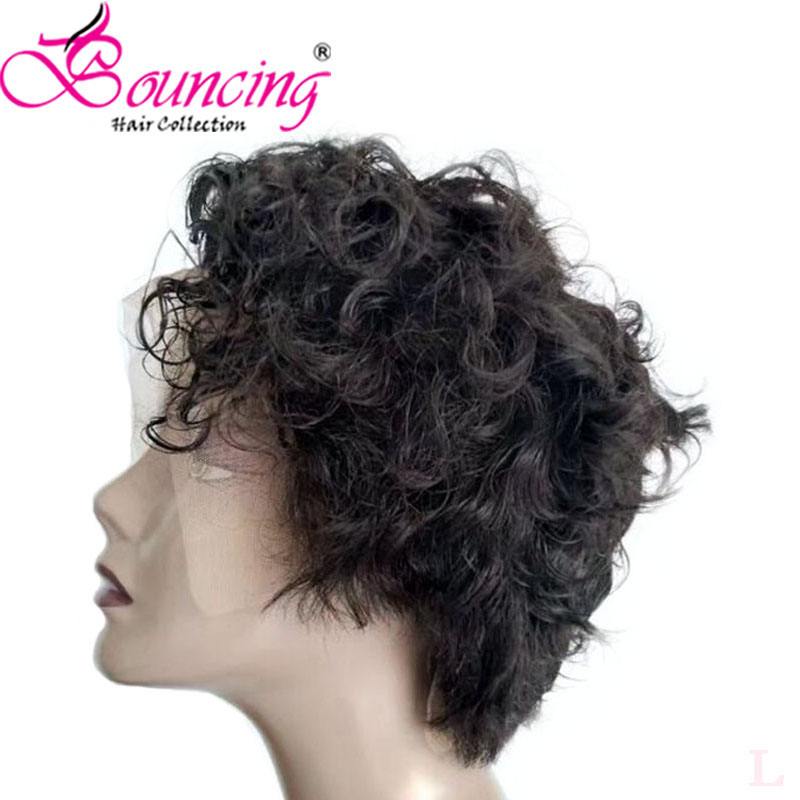 Bouncing Short Cut Pixie Wigs Customized Wigs Brazilian Remy Human Hair Wig All Style 13x4 Lace Front Wig 150% Density For Women