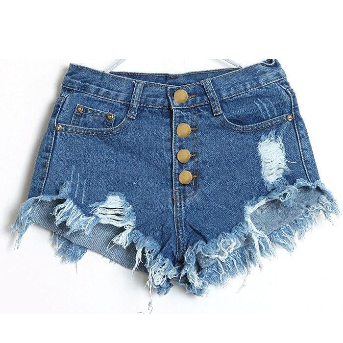 2019 Summer Women Solid Color Hole Denim Shorts High Waist Plus Size XL Solid Casual Jeans Shorts Vintage Cotton Short Pants