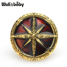 Wuli&baby Retro Silver Gold Star Badge Brooches For Women Men Blue Brown Round Banquet Brooch Pins