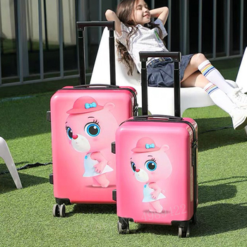 NEW 20 inch Cartoon Bear kid's suitcase for travelling luggage bag spinner wheels trolley suitcase carry on cabin luggage child