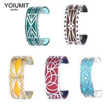 Yoiumit-pulsera de acero inoxidable para mujer, brazalete de cuero intercambiable, joyería artesanal, regalo de Navidad, bisutería 2020