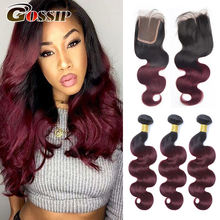 T1B/99J Burgundy Brazilian Hair Weave Bundles With Closure Gossip Brazilian Body Wave Human Hair With 4x4 Closure Non-Remy Hair(China)