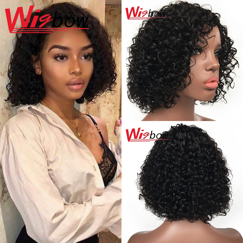 Curly human hair wig short bob curly human hair wig for black women 1B pre plucked pixie cut wig 150 density fast shipping  wig