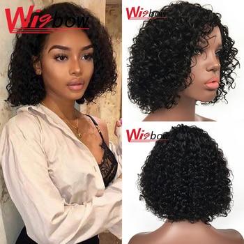 Pelo Rizado corto Bob peluca para mujeres indio Peluca de pelo negro corte Pixie Bob peluca rizado pelucas de cabello humano máquina completa hecho Wigbow