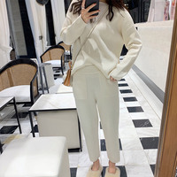 Cashmere Knitted Women's Sweater Pants Suit Autumn Ankle length Sports Suits Female 2019 Fashion Batwing Sleeve 2 Piece Sets