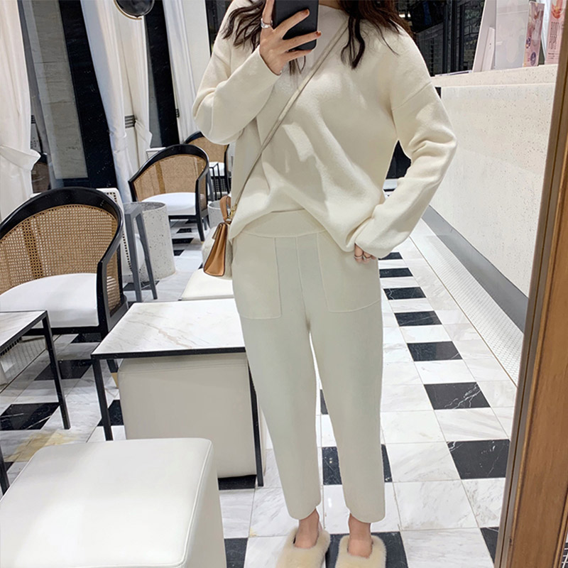 Knitted Women's Two Piece Sweater Set Pant Suit Autumn Ankle-length Sports Suits Female 2019 Fashion Batwing Sleeve 2 Piece Sets